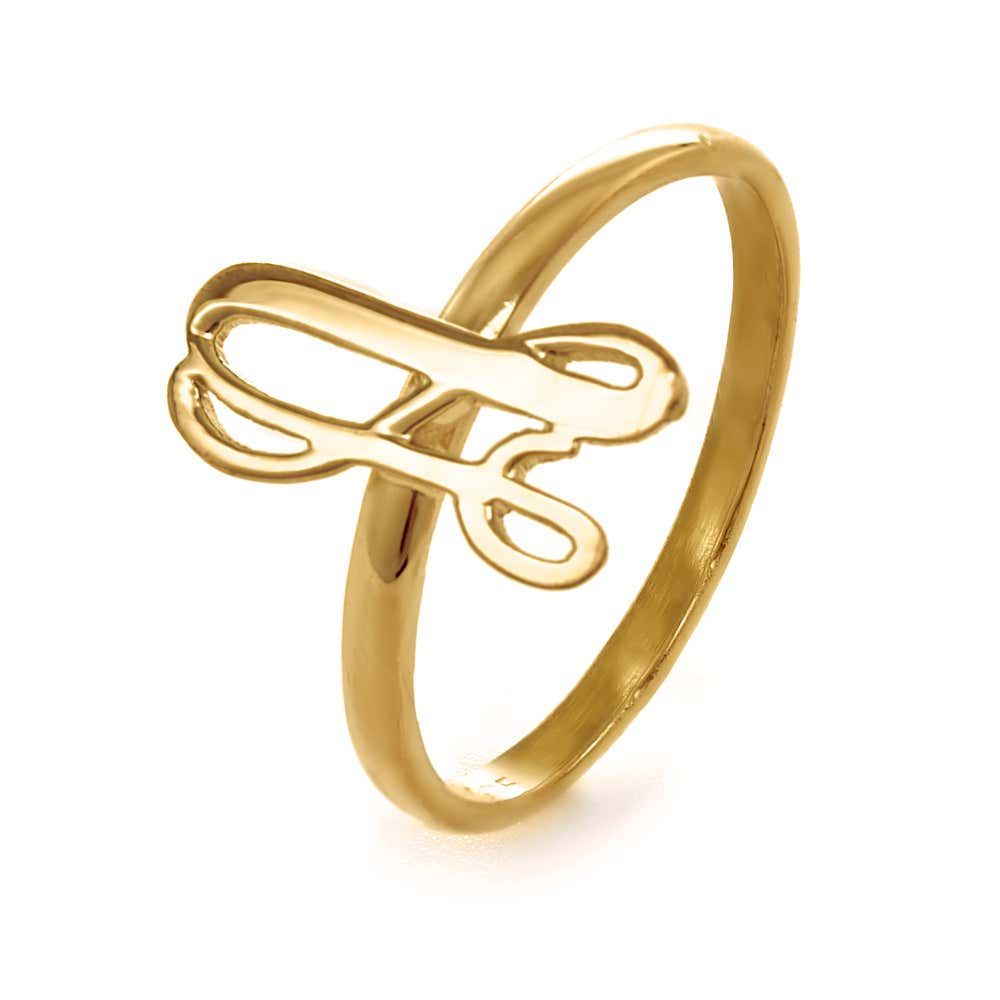 ee38ab395 Uppercase Script Initial Thin Ring in Gold