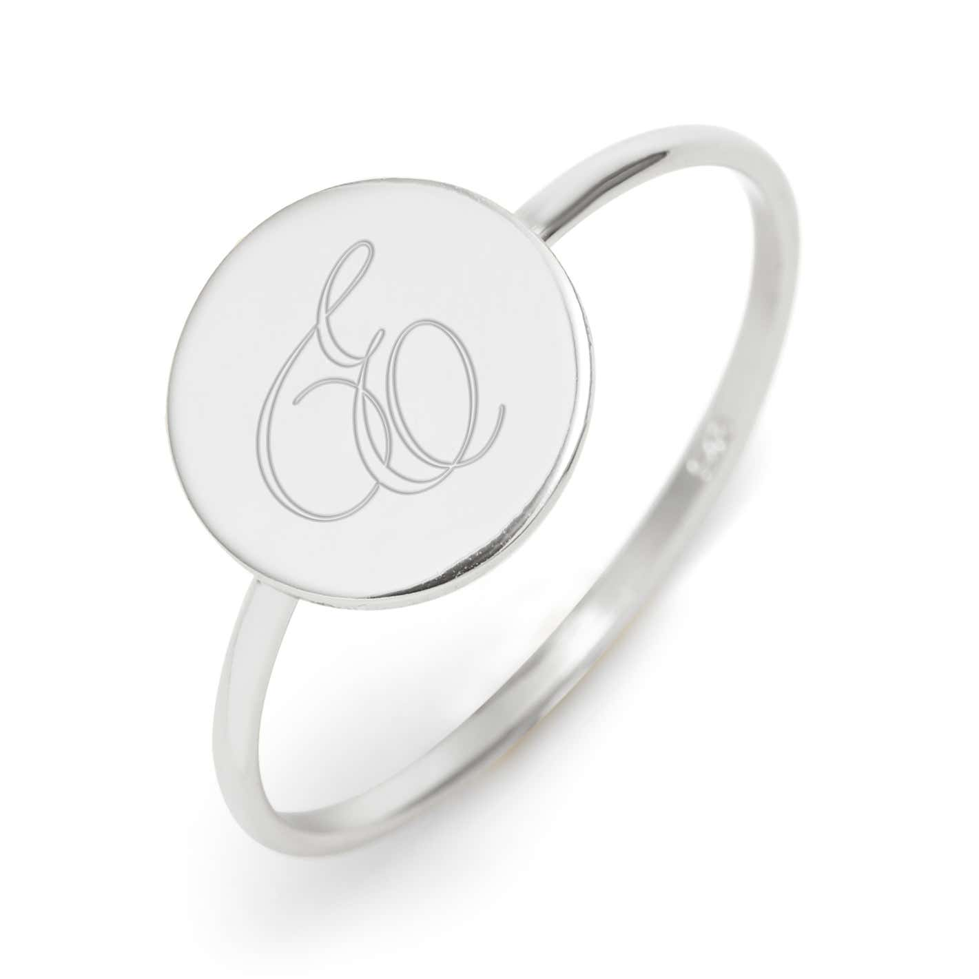 2abf7df39 Round Signet Silver Initial Ring | Custom Initial Band