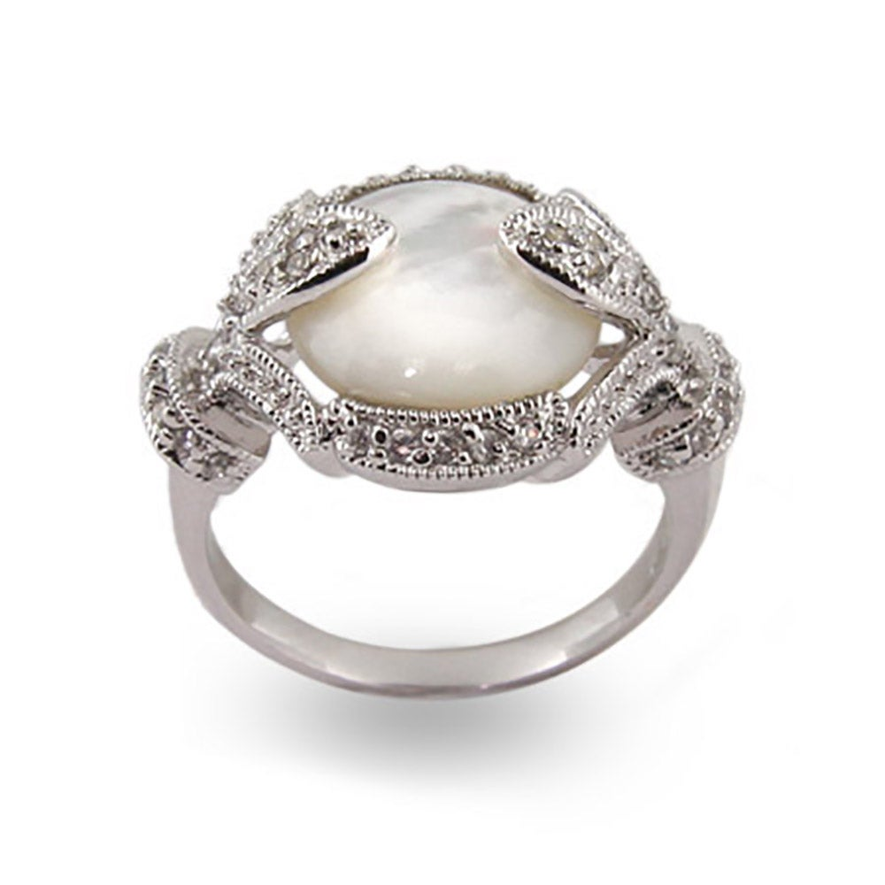 Vintage Deco Style Silver Mother Of Pearl Ring