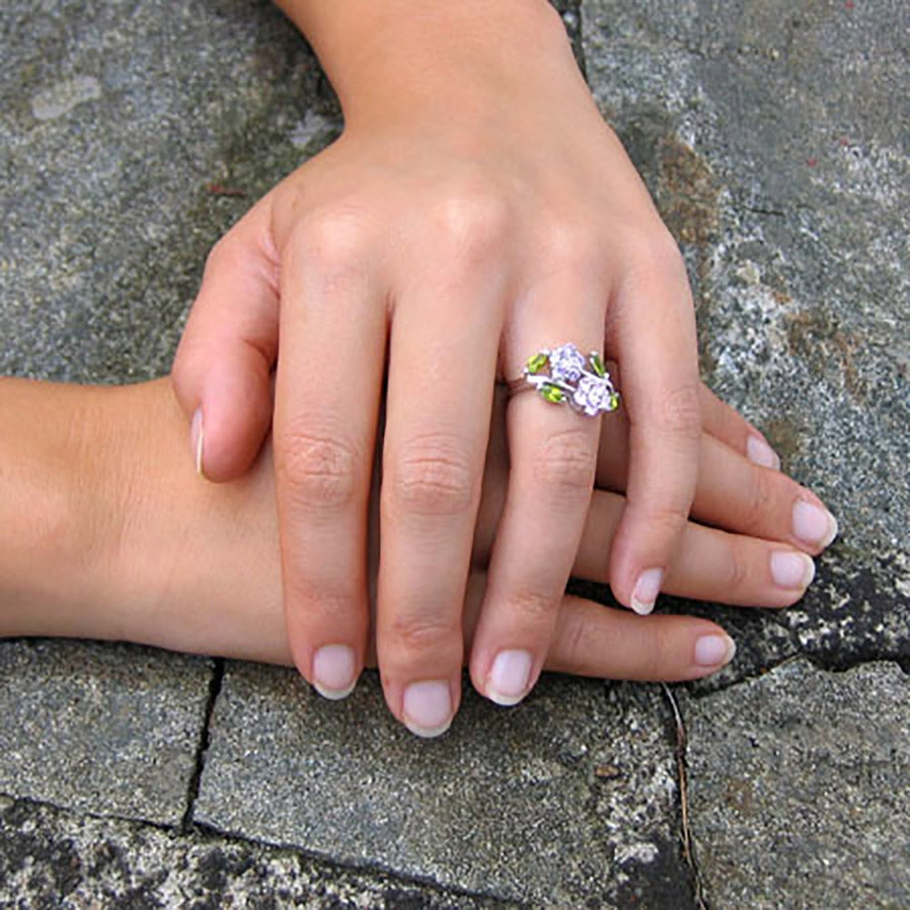 Sterling Silver Purple and Pink Flowers Ring | Eve\'s Addiction®