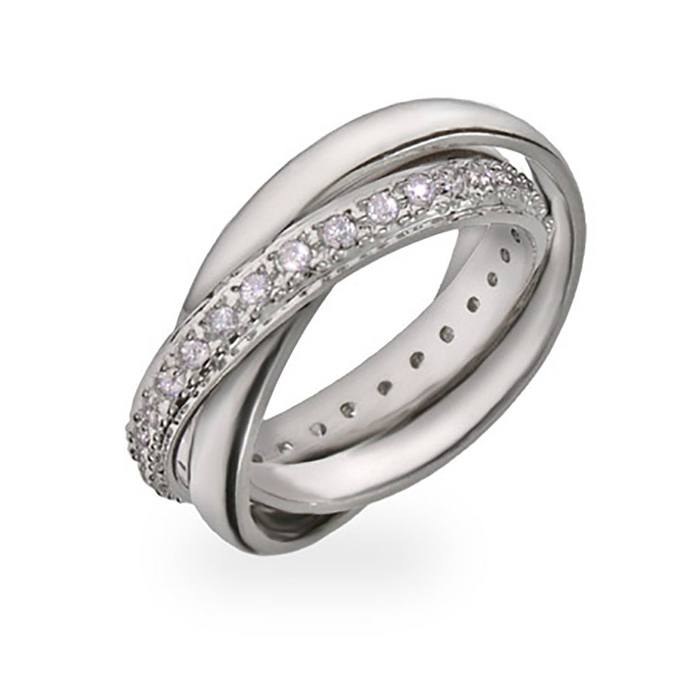 designer style russian wedding ring with cz band - Russian Wedding Ring
