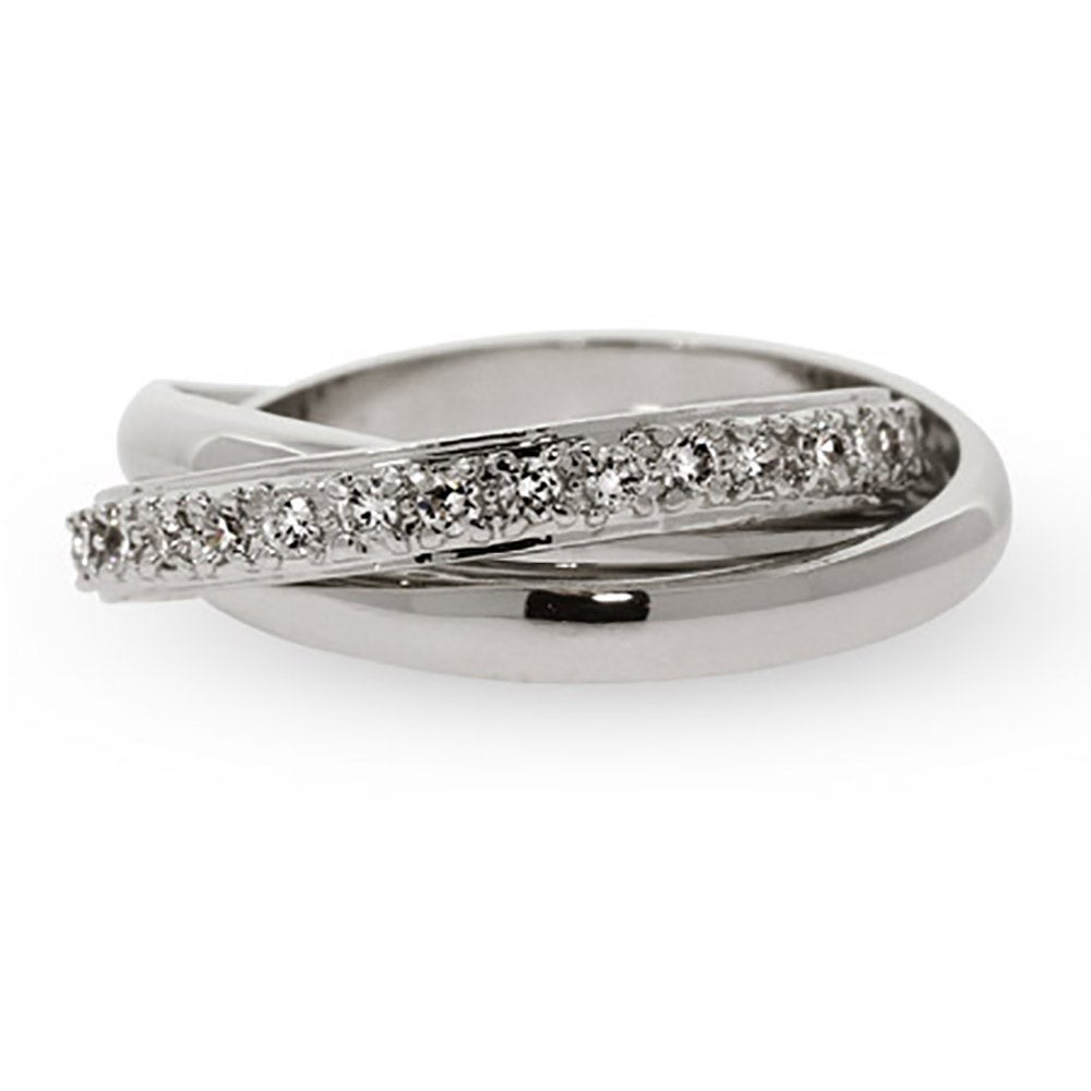 Designer Style Russian Wedding Ring with CZ Band Eves Addiction