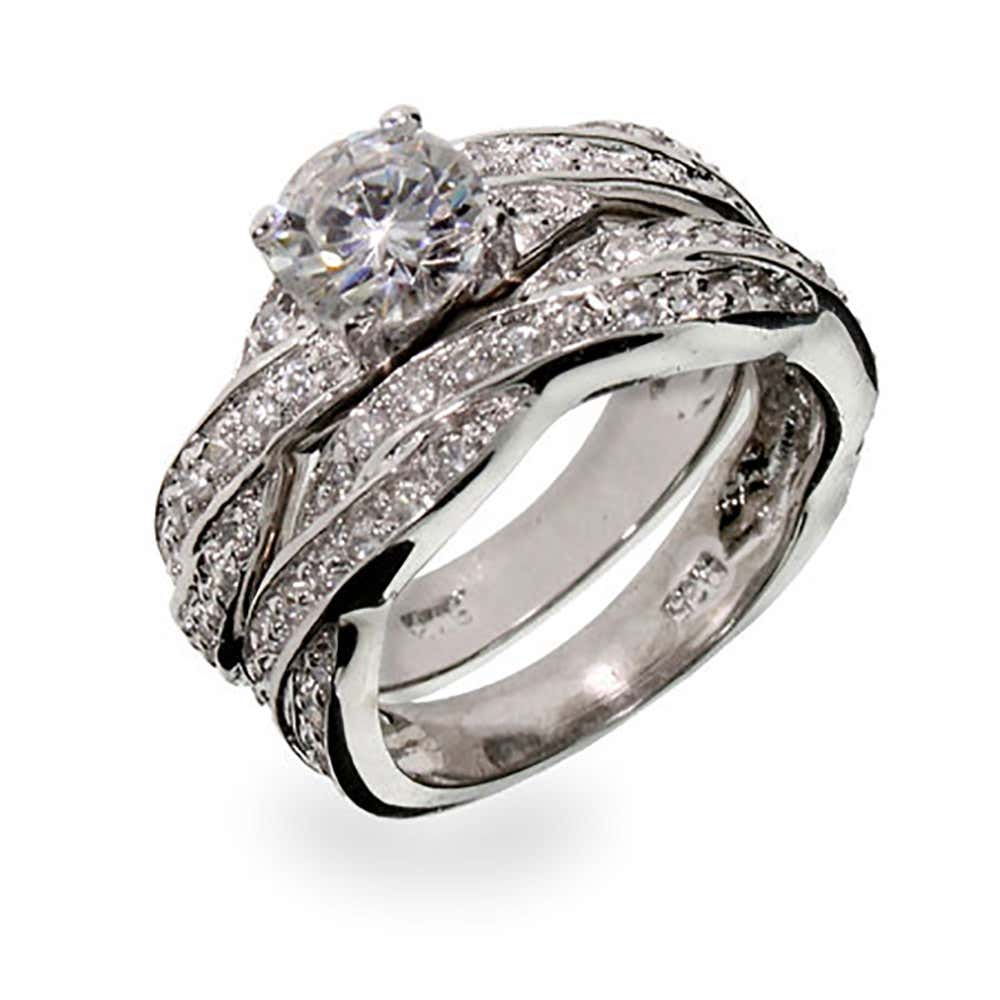 Cubic Zirconia Wedding Rings.Sterling Silver Twisted Cz Wedding Ring Set