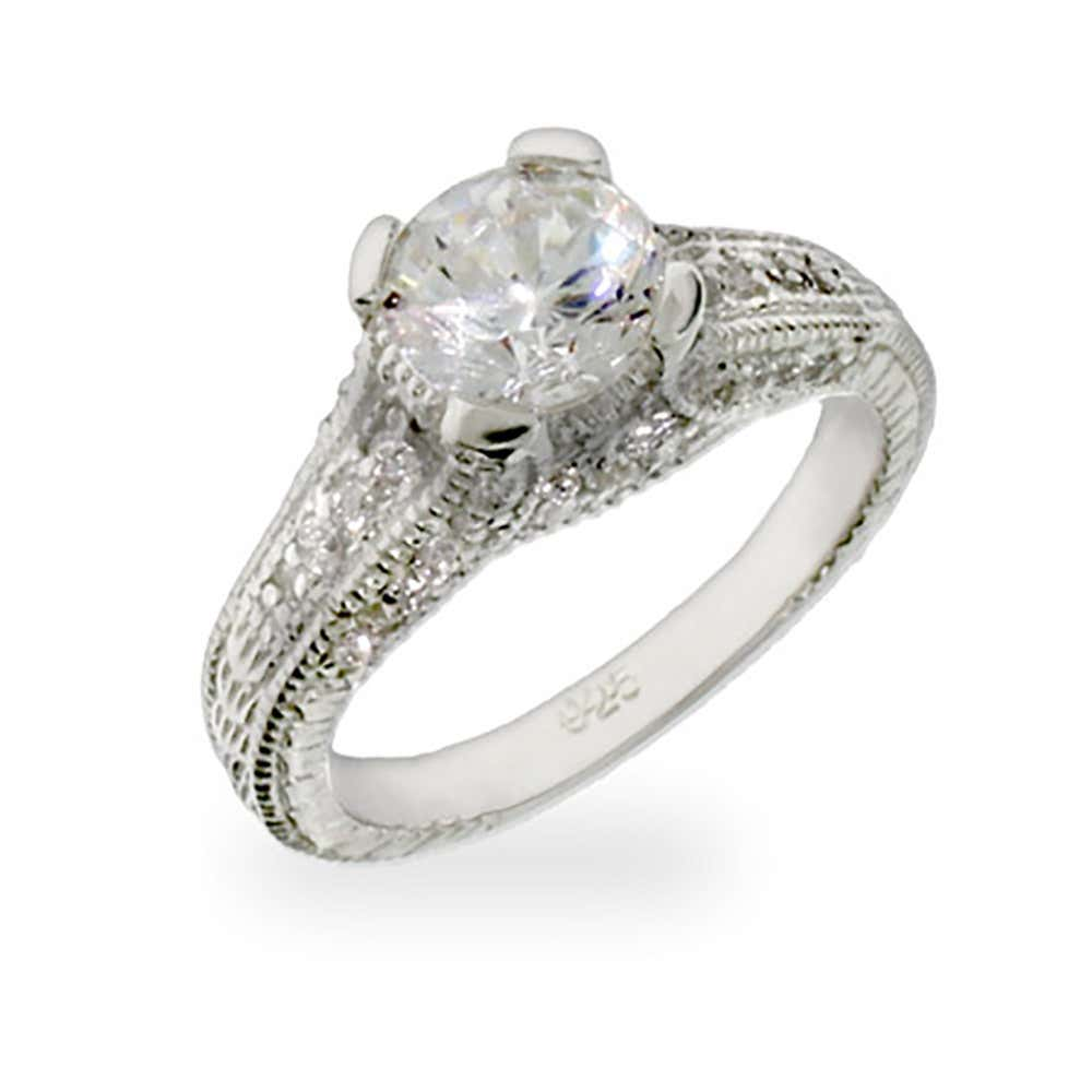 Celebrity Inspired Brilliant Cut CZ Engagement Ring