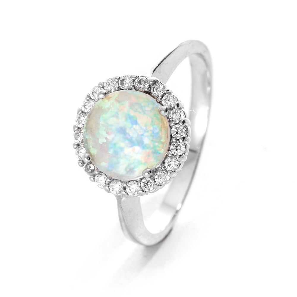 Favorite Round Opal with CZ Halo Ring | Eve's Addiction® ZD28