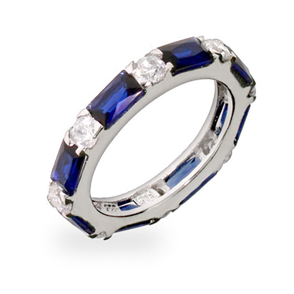Sapphire and Diamond CZ Stackable Eternity Band Eves Addiction
