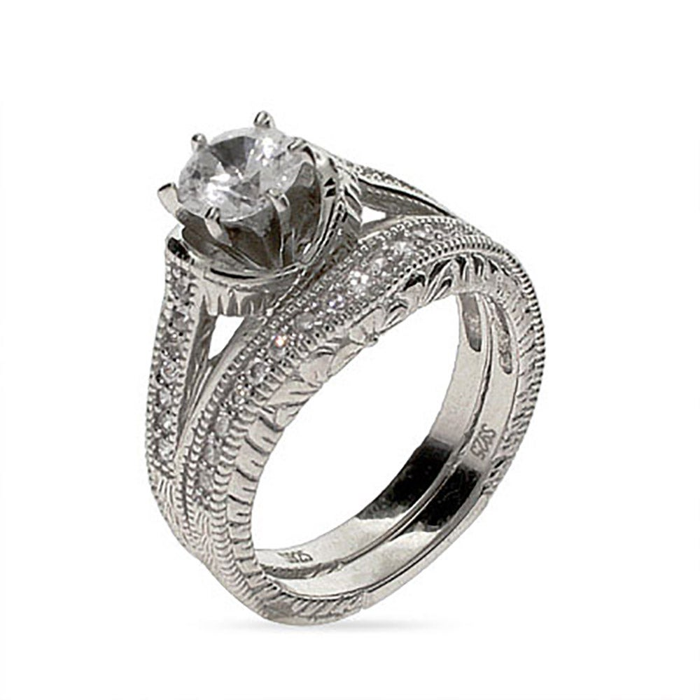 Silver Vintage Style Diamond Cut Cz Wedding Ring Set
