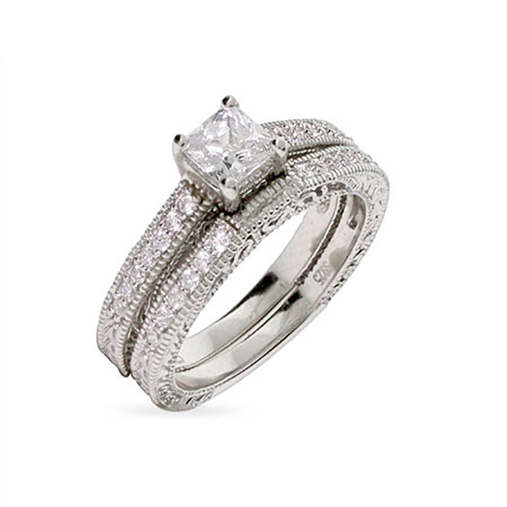 Vintage Style Princess Cut Engagement Ring Set