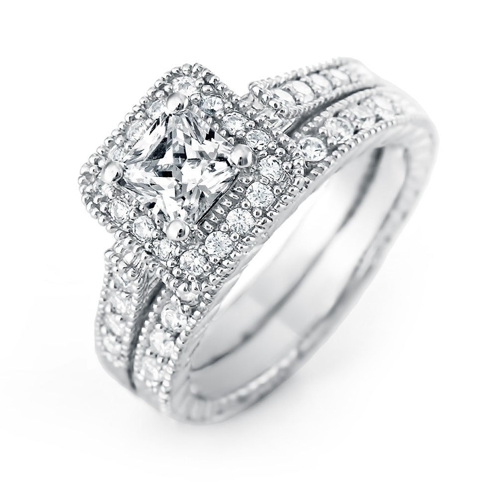 Princess Cut Halo CZ Wedding Ring Set Eves Addiction