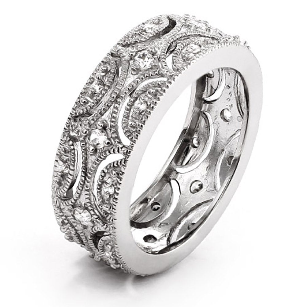 exquisite victorian style cz wedding band - Silver Wedding Ring
