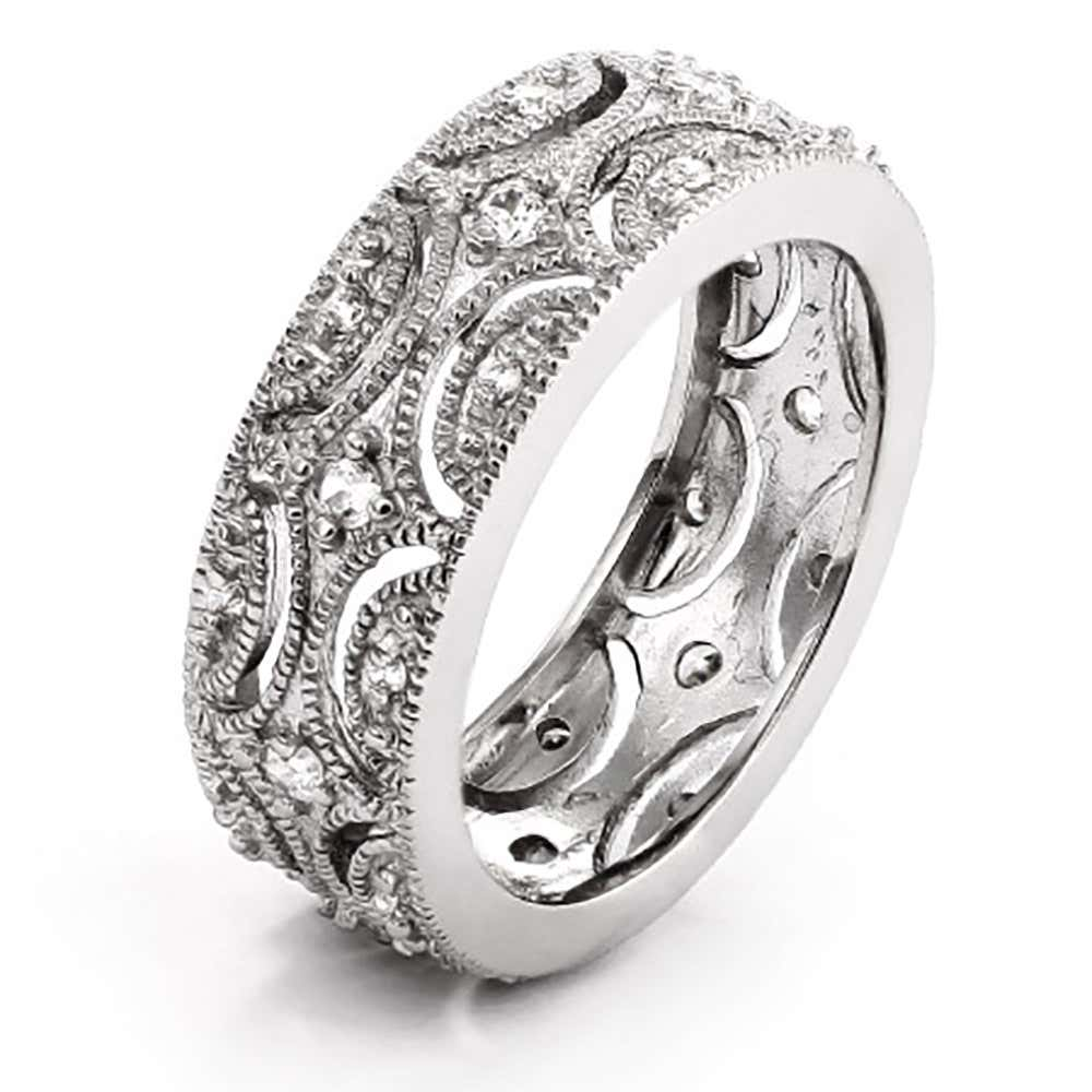 Victorian Style Cz Wedding Band