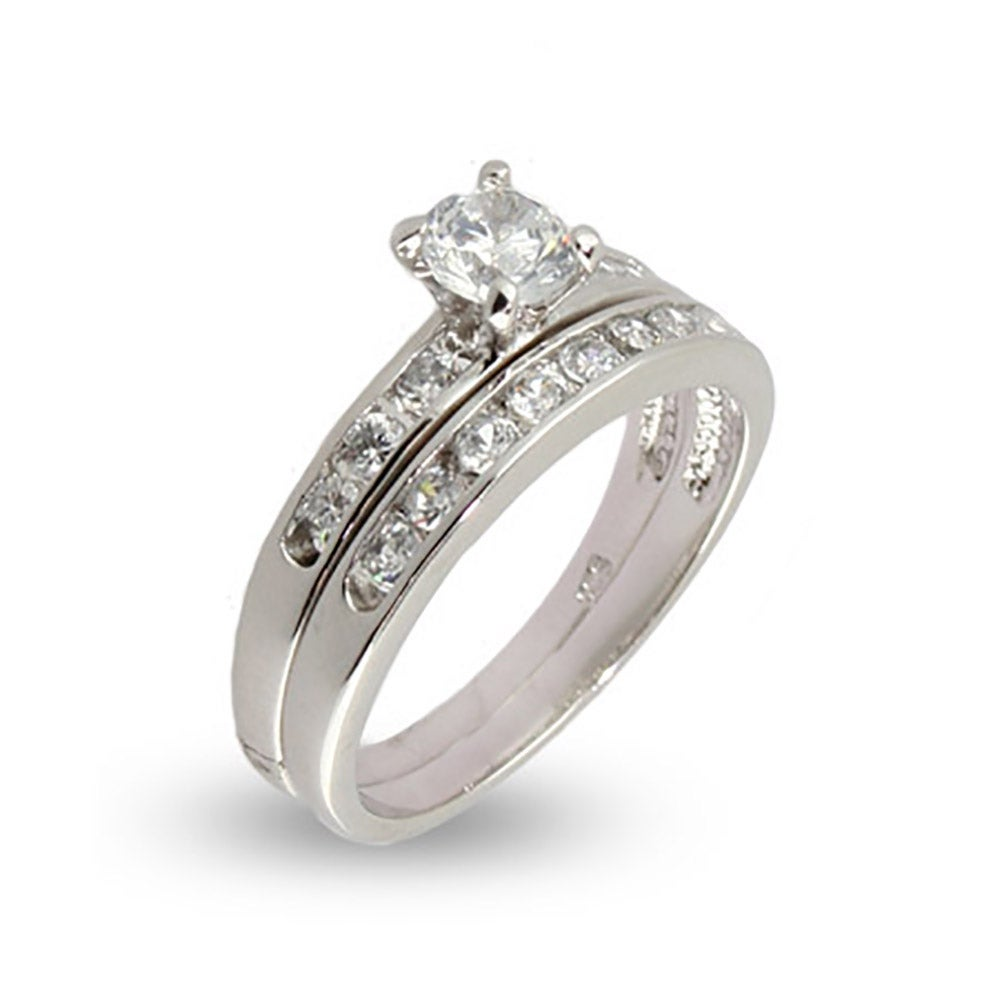 Simple channel set cz wedding ring set eve39s addictionr for Wedding band for engagement ring