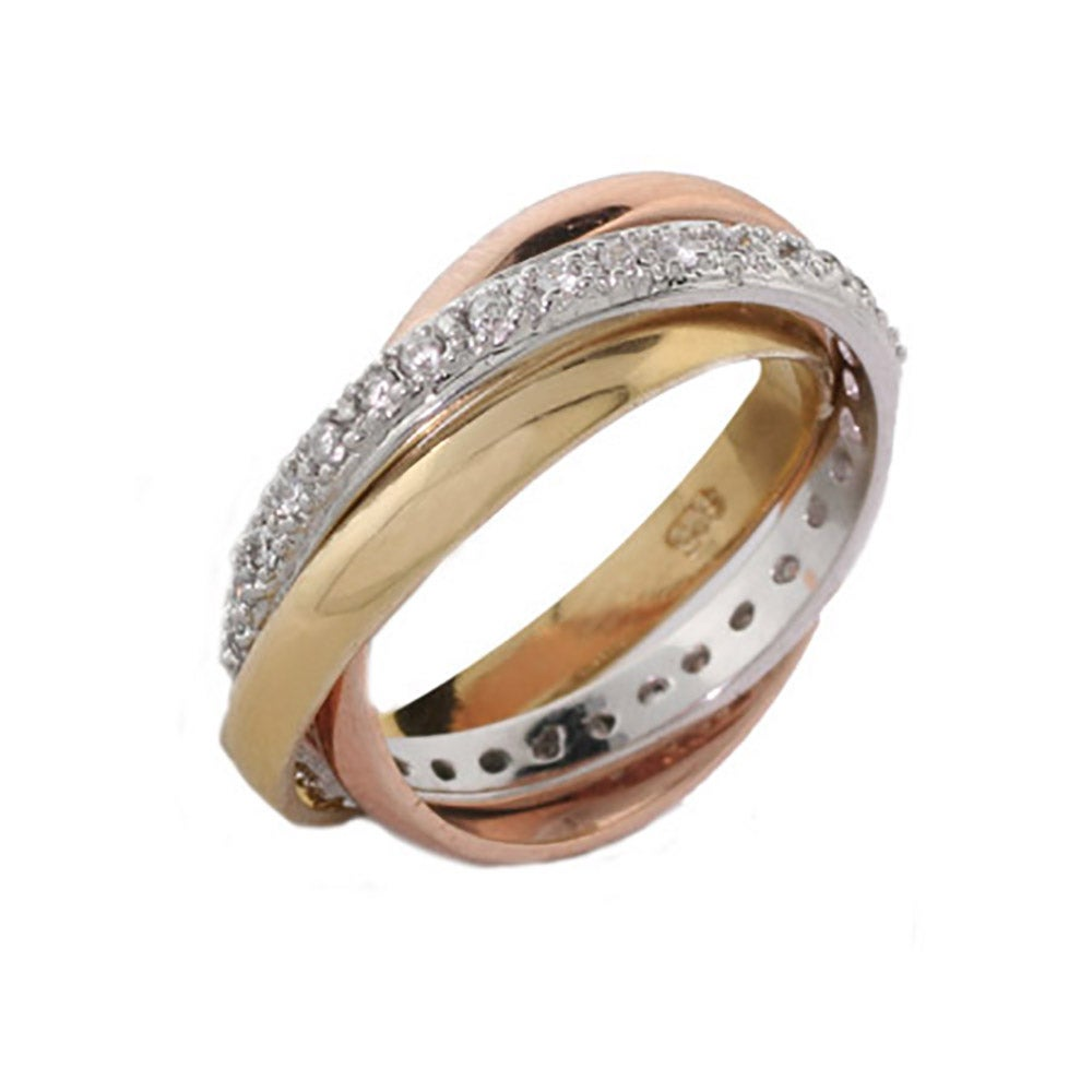 triple tone cz russian wedding ring - Russian Wedding Ring