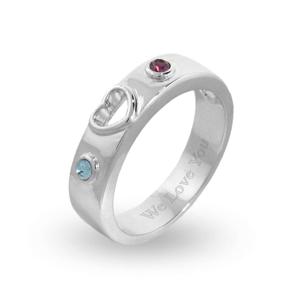 24784891c6 Custom Birthstone Couple's Promise Ring in Sterling Silver