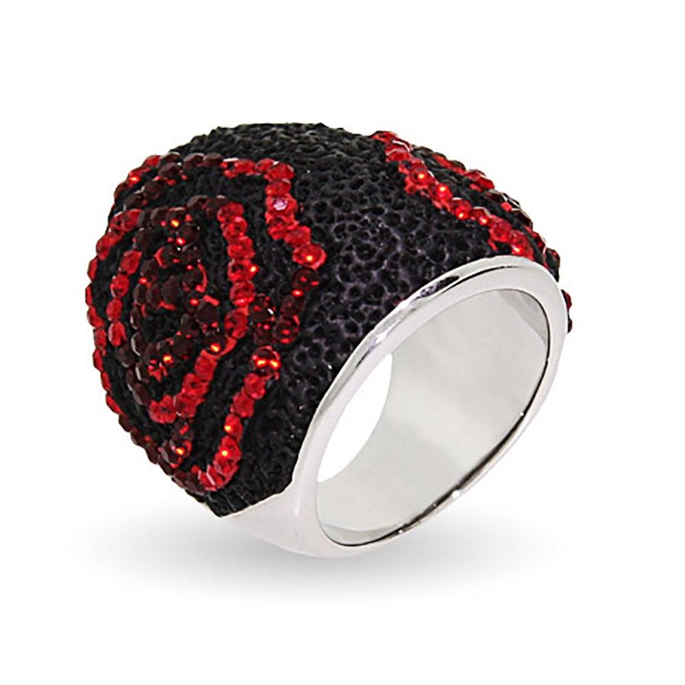 sterling silver swarovski crystal black lava rose ring eve 39 s addiction. Black Bedroom Furniture Sets. Home Design Ideas