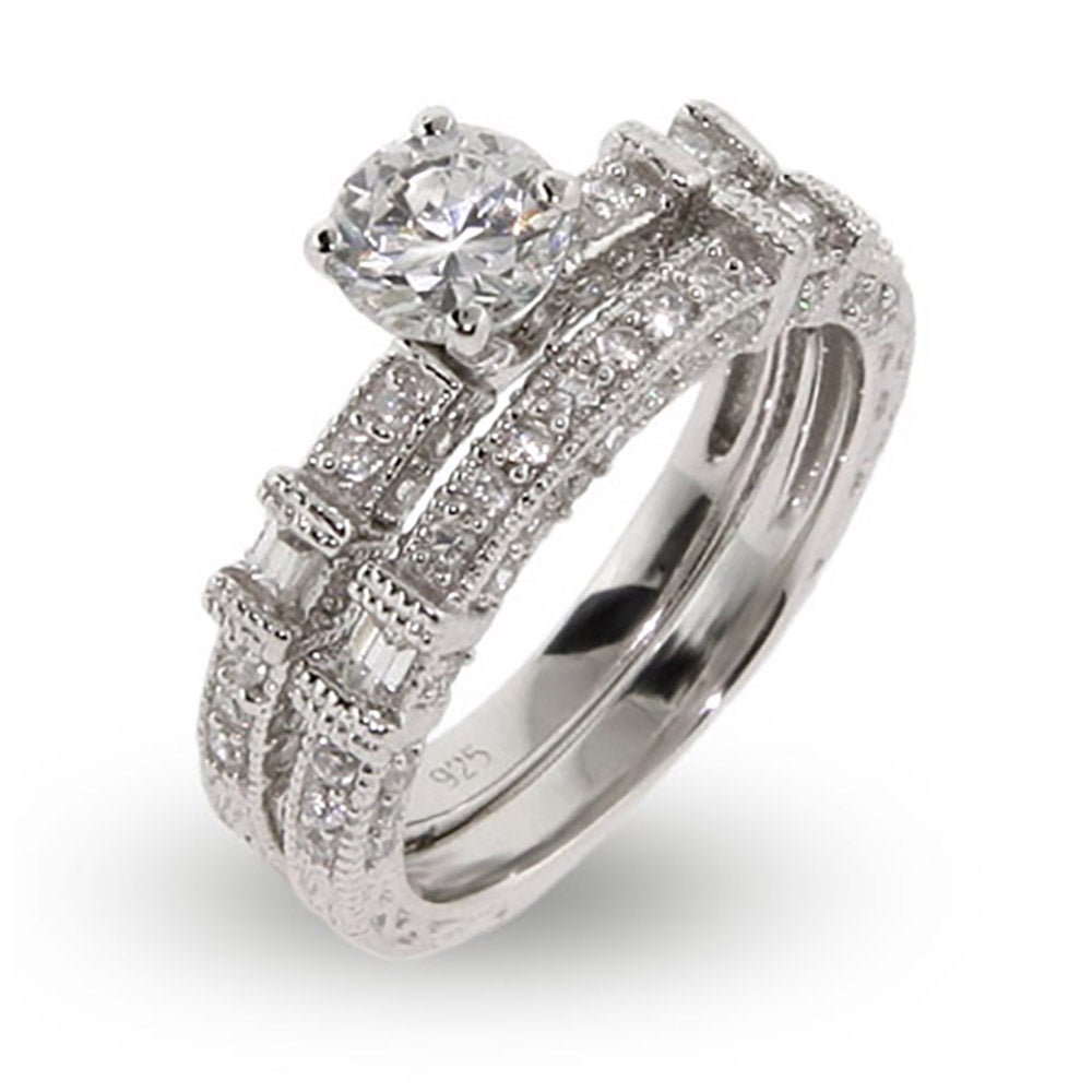 Contemporary Style CZ Engagement Ring Set