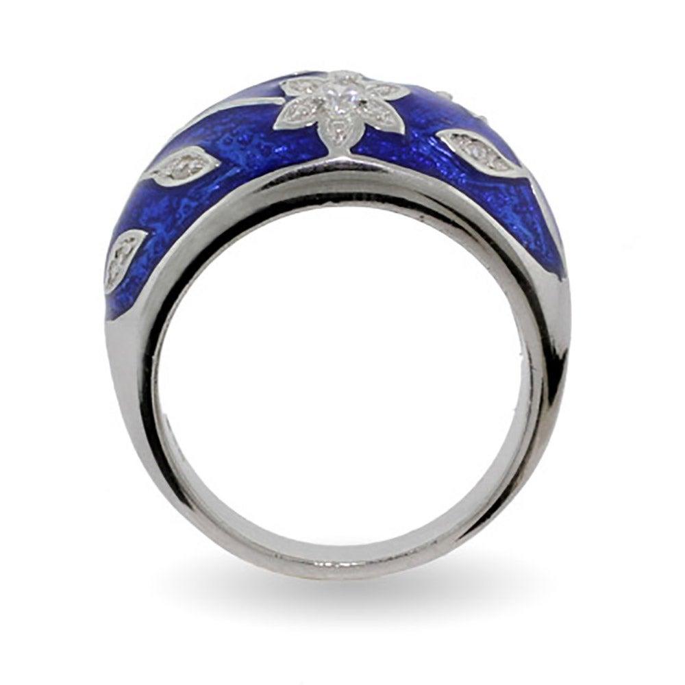 Ruby Red Enamel Ring With Vintage Cz Flower Design