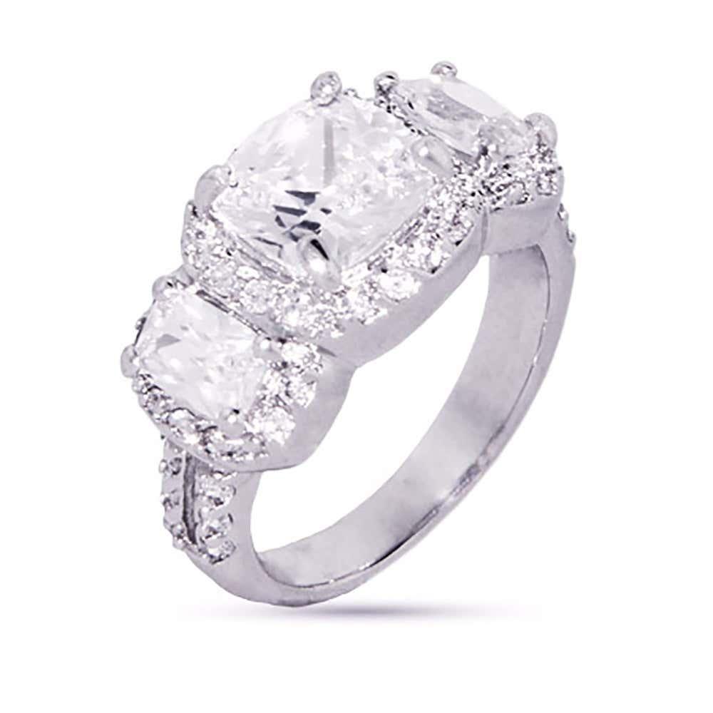 Cushion Cut Past Present Future Cz Engagement Ring