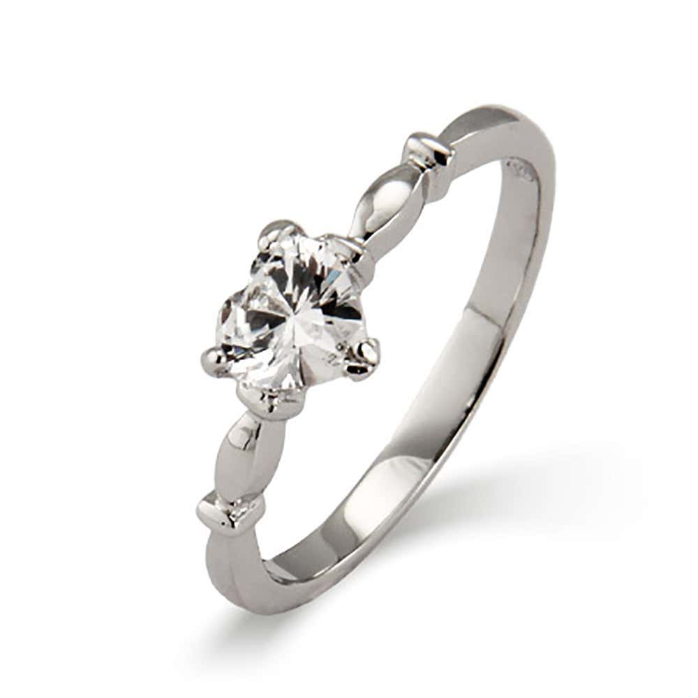 3870d58e40b02 Sterling Silver Simple CZ Heart Promise Ring