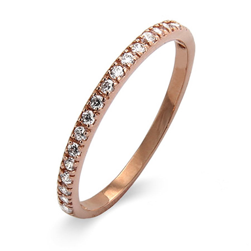 Thin Pave CZ Rose Gold Vermeil Stackable Ring Eves Addiction