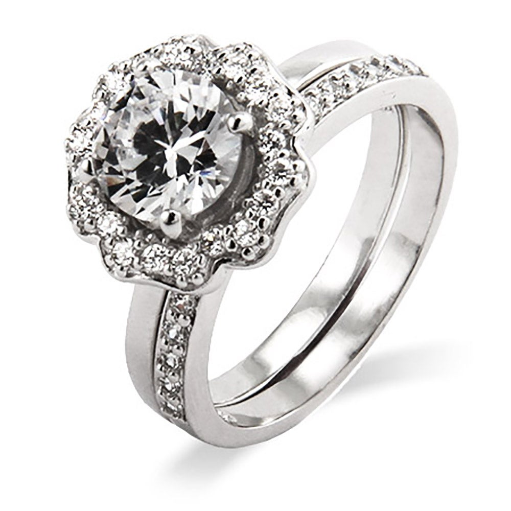 wedding lotus ring diamond halo rings engagement flower with