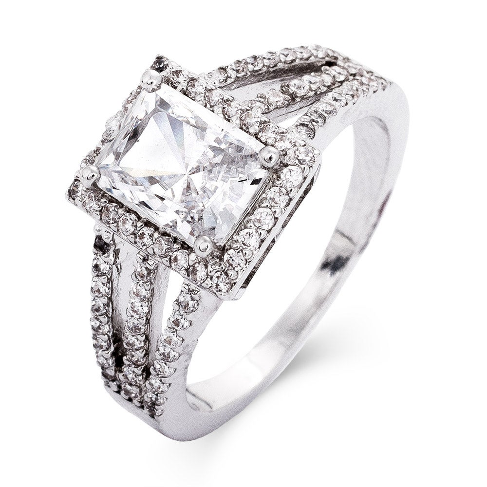 Cubic zirconia art deco square engagement ring from eves addiction jewelry