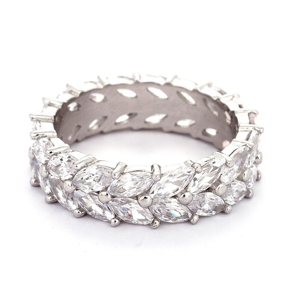 Marquise Ring Bands: Sterling Silver Marquise Cut CZ Eternity Band