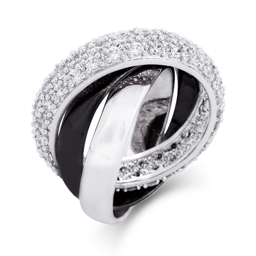 black and silver triple roll cz russian wedding - Russian Wedding Ring
