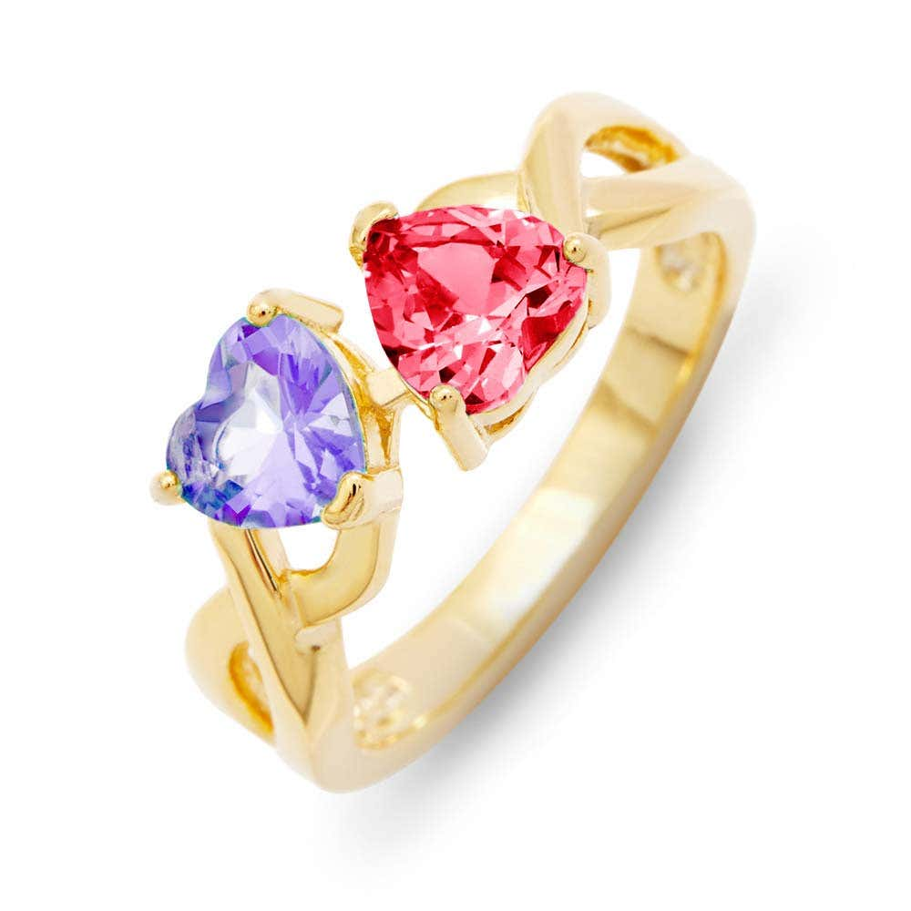 7fa989ad62754 Custom 2 Heart Birthstone Gold Infinity Ring