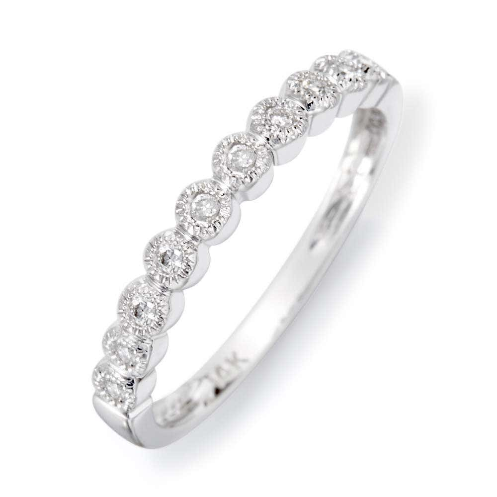 aa58efea25f70 14K White Gold Milgrain Bubbles Diamond Promise Ring
