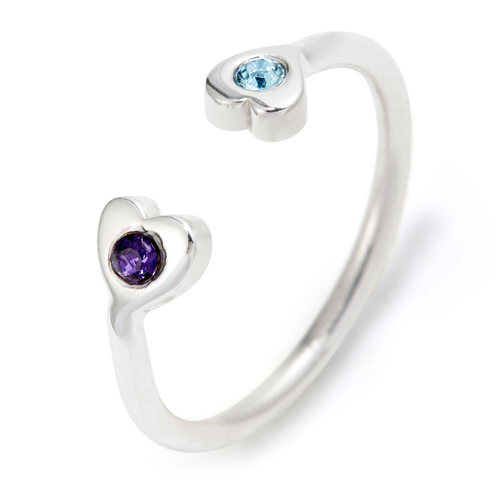 Two Heart Birthstone Couples Silver Cuff Ring Customizable