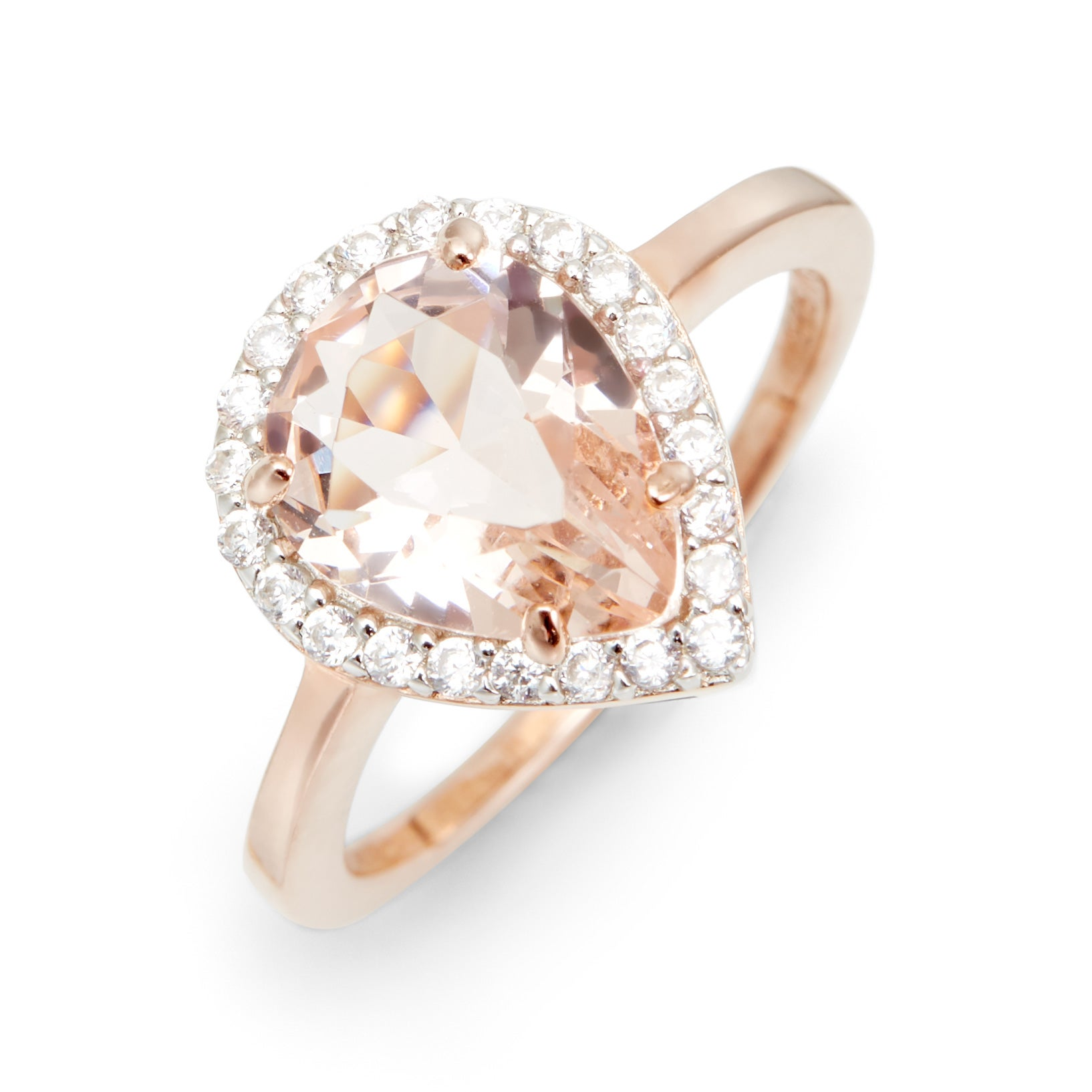 ring pear gold cz morganite cut rings rose shaped caged engagement