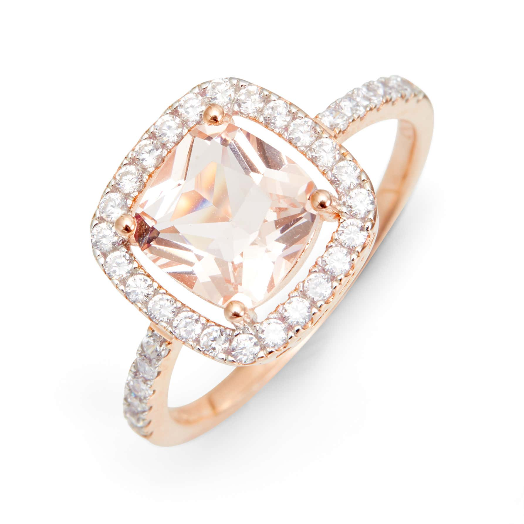 Rose Gold Plated Morganite Square Engagement Ring
