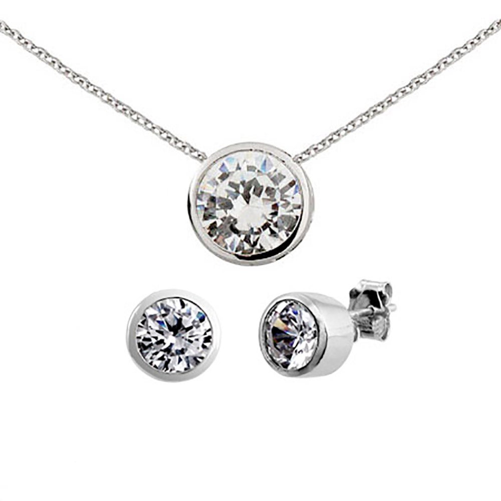 Designer Style Silver Bezel Set Cz Earrings And Necklace