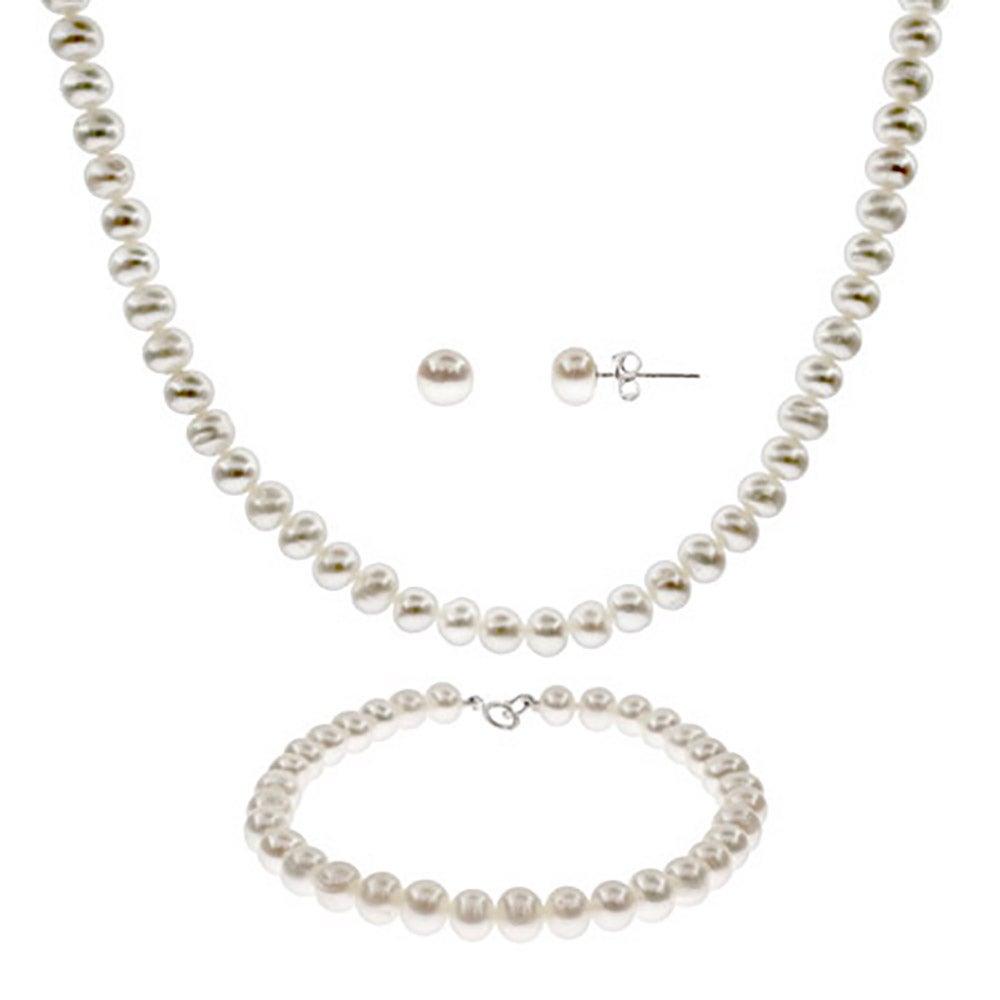 6mm Freshwater Pearl Necklace Bracelet Earring Set