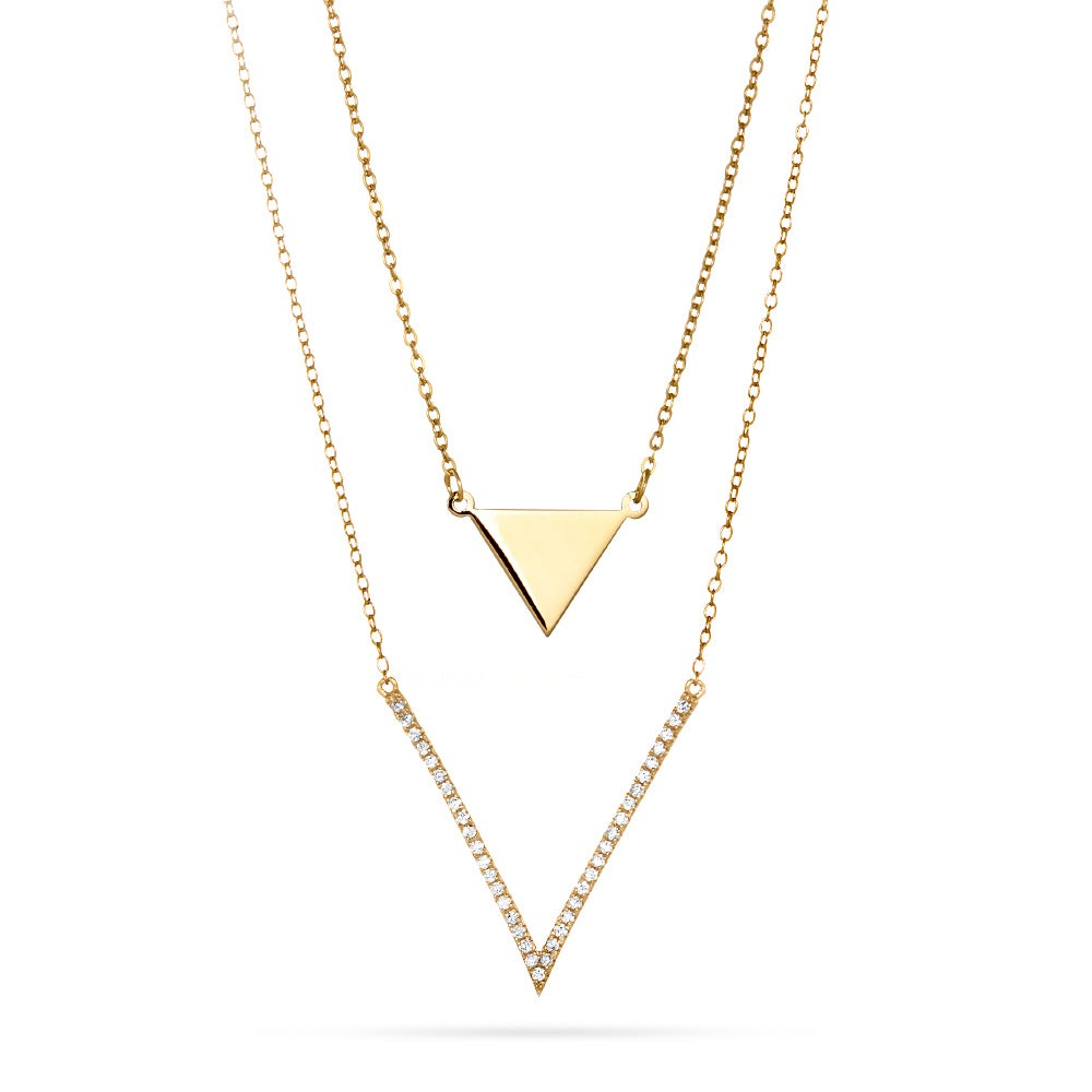 Gorjana Triple Layered Chain Necklace w/ Cubic Zirconia ogIuzEru