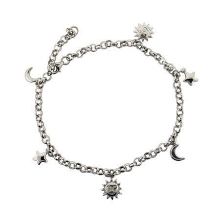 Sun, Moon, and Stars Anklet in Sterling Silver