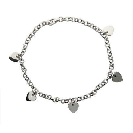 Sterling Silver Dangling Hearts Anklet | Eve's Addiction®