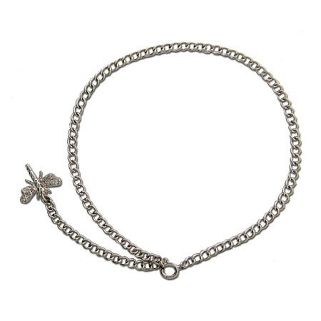 Sterling Silver CZ Dragonfly Anklet | Eve's Addiction®