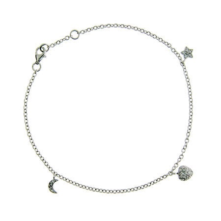 Pave CZ Heart, Moon, & Star Charm Anklet in Sterling Silver | Eve's Addiction®