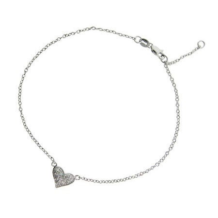Pave Cubic Zirconia Heart Anklet in Sterling Silver | Eve's Addiction®