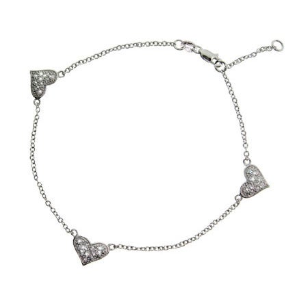 Triple Pave Cubic Zirconia Heart Anklet in Sterling Silver | Eve's Addiction®