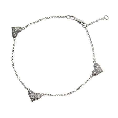 Triple Pave Cubic Zirconia Heart Anklet in Sterling Silver