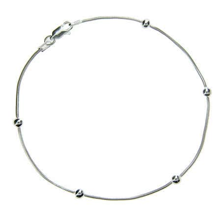 Sterling Silver Beaded Snake Chain Anklet