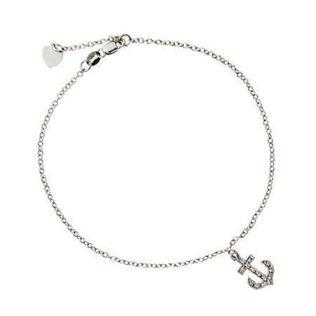 display slide 1 of 1 - Designer Style CZ Anchor Charm Anklet - selected slide