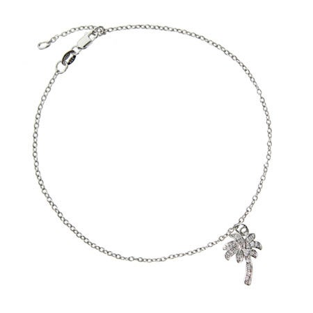 Designer Style CZ Palm Tree Anklet | Eve's Addiction®