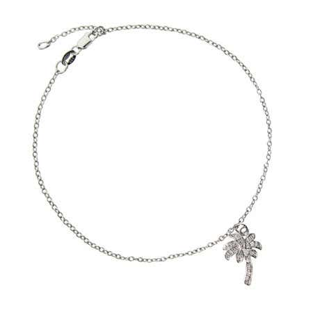 display slide 1 of 1 - Designer Style CZ Palm Tree Anklet - selected slide
