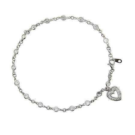 Designer Style Heart Charm CZ Anklet in Sterling Silver | Eve's Addiction®