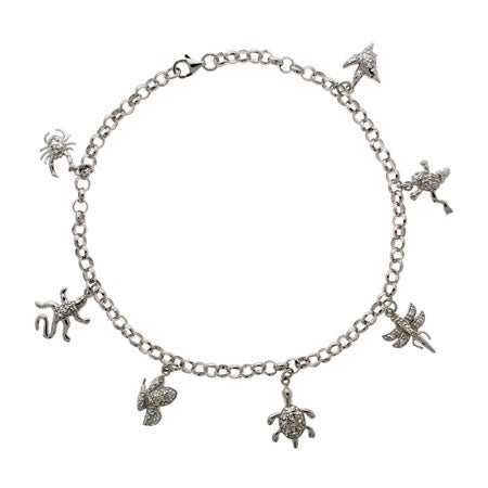Tiffany Style CZ Nature Charm Anklet