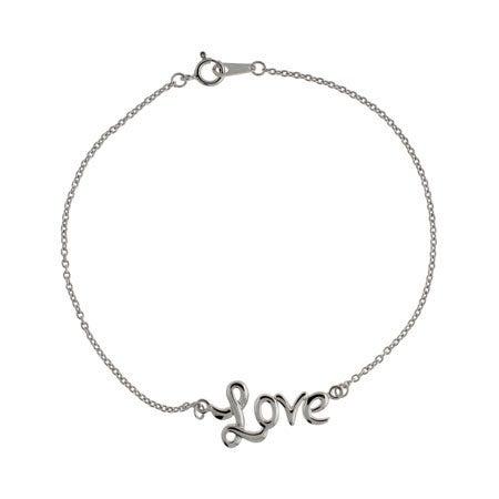 Cursive Love Sterling Silver Anklet   Eve's Addiction®
